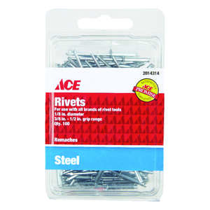 Ace  1/8  1/2  L Rivets  Silver  Steel  100 pk