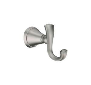 Moen  Medium  Brushed Nickel  Silver  Metal  2-5/8 in. L 20 lb. 1 pk Garment Hook