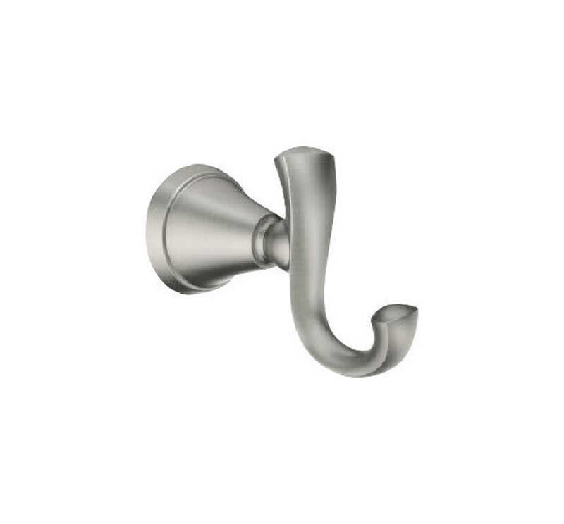 Moen  Medium  Brushed Nickel  Silver  Metal  2-5/8 in. L Garment Hook  20 lb. 1 pk