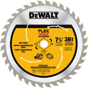 DeWalt  Flexvolt  7-1/4 in. Dia. x 5/8 in.  Circular Saw Blade  Carbide Tipped Steel  36 teeth 1 pk