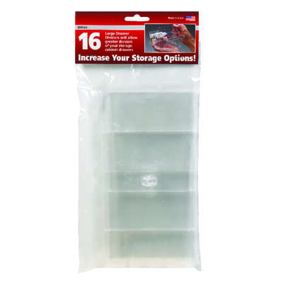 Stack-On  4-1/4 in. L x 1 in. W x 4-1/4 in. H Drawer Dividers  Plastic  16 compartment Clear