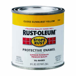 Rust-Oleum  Indoor and Outdoor  Gloss  Sunburst Yellow  Protective Enamel  0.5 pt.