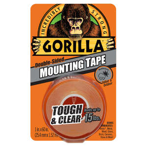 Gorilla  1 in. W x 60 in. L Mounting Tape  Clear