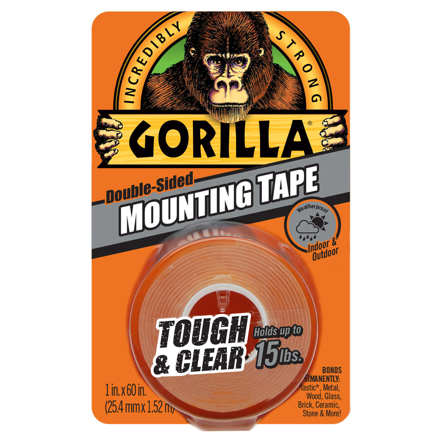 Gorilla  Double Sided 1 in. W x 60 in. L Mounting Tape  Clear