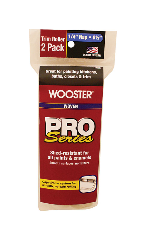 Wooster  Pro Series  Woven  1/4 in.  Paint Roller Cover  For Smooth Surfaces 2 pk