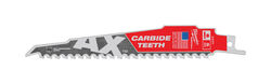 Milwaukee  AX  6 in. Carbide  Demolition  Reciprocating Saw Blade  5 TPI 1 pk