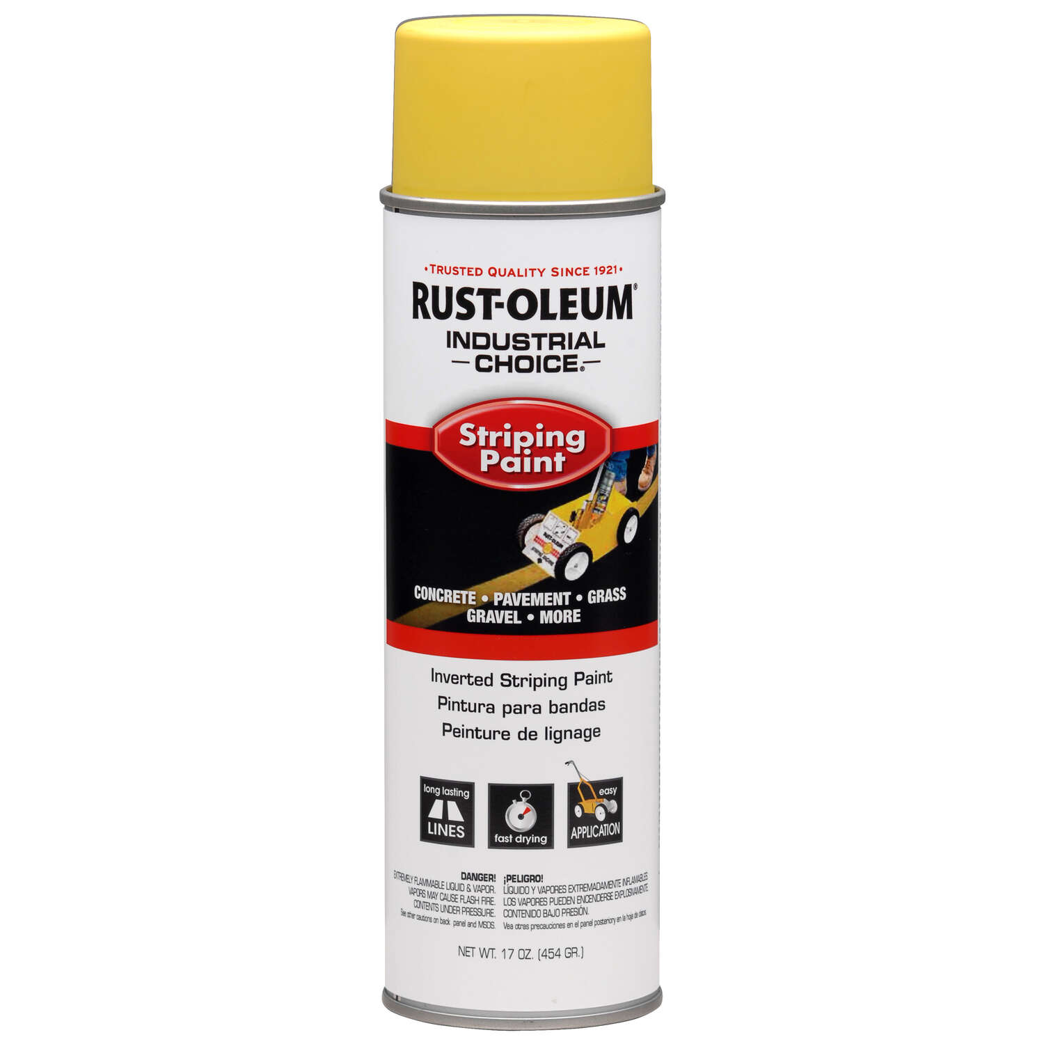 Rust-Oleum  Industrial Choice  Yellow  Inverted Striping Paint  18 oz.