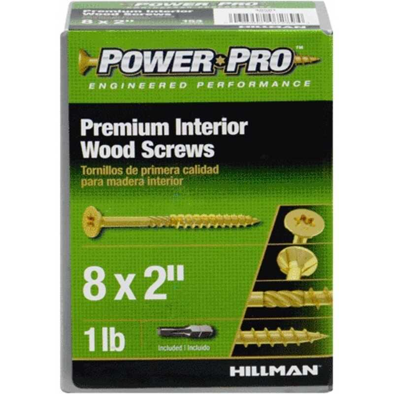 HILLMAN  Power Pro  No. 8   x 2 in. L Star  Flat  Steel  Wood Screws  Yellow Zinc-Plated  153 pc.