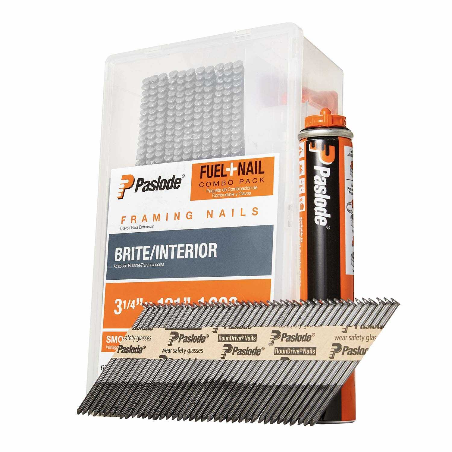 Paslode  30 deg. 16 Ga. Smooth Shank  Straight Strip  Fuel and Nail Kit  3-1/4 in. L x 0.12 in. Dia.