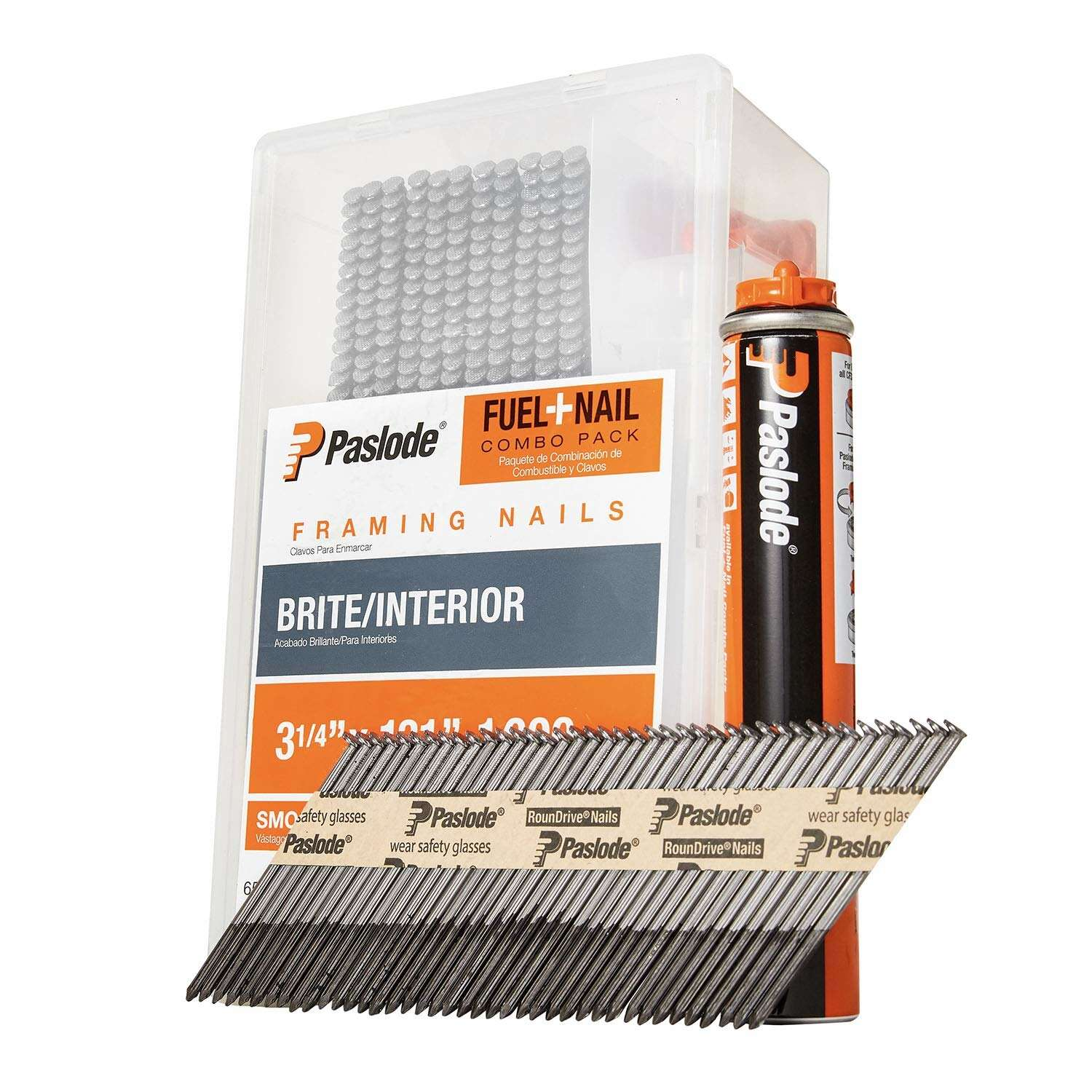 Paslode  3-1/4 in. Angled Strip  Fuel and Nail Kit  30 deg. Smooth Shank  1000 pk