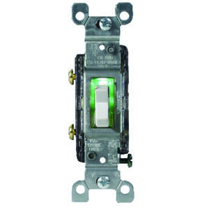 Leviton  Illuminated  15 amps Toggle  Switch  White  1 pk