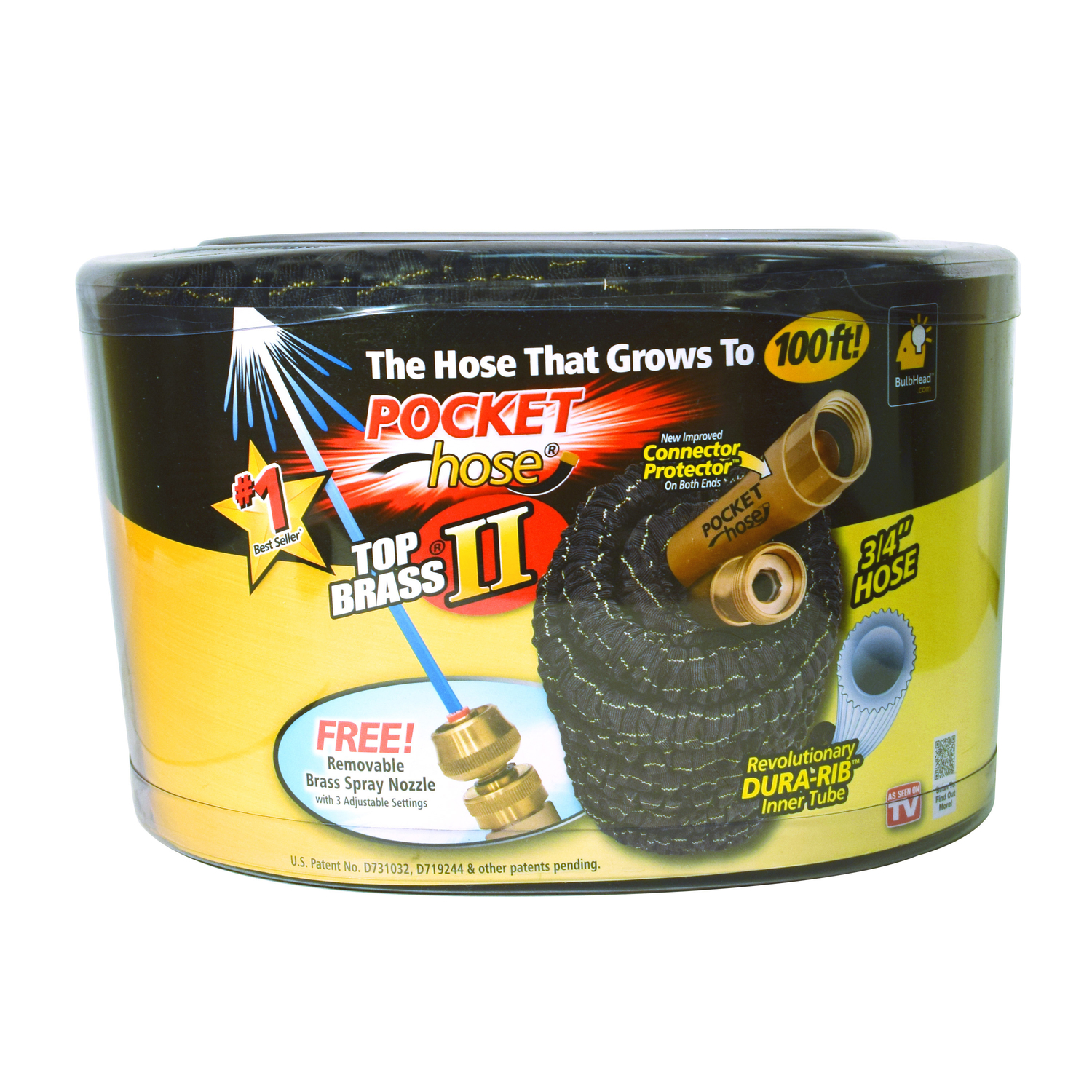 Telebrands  Top Brass II As Seen On TV  3/4 in. Dia. x 100 ft. L Expanding  Black  Garden Hose