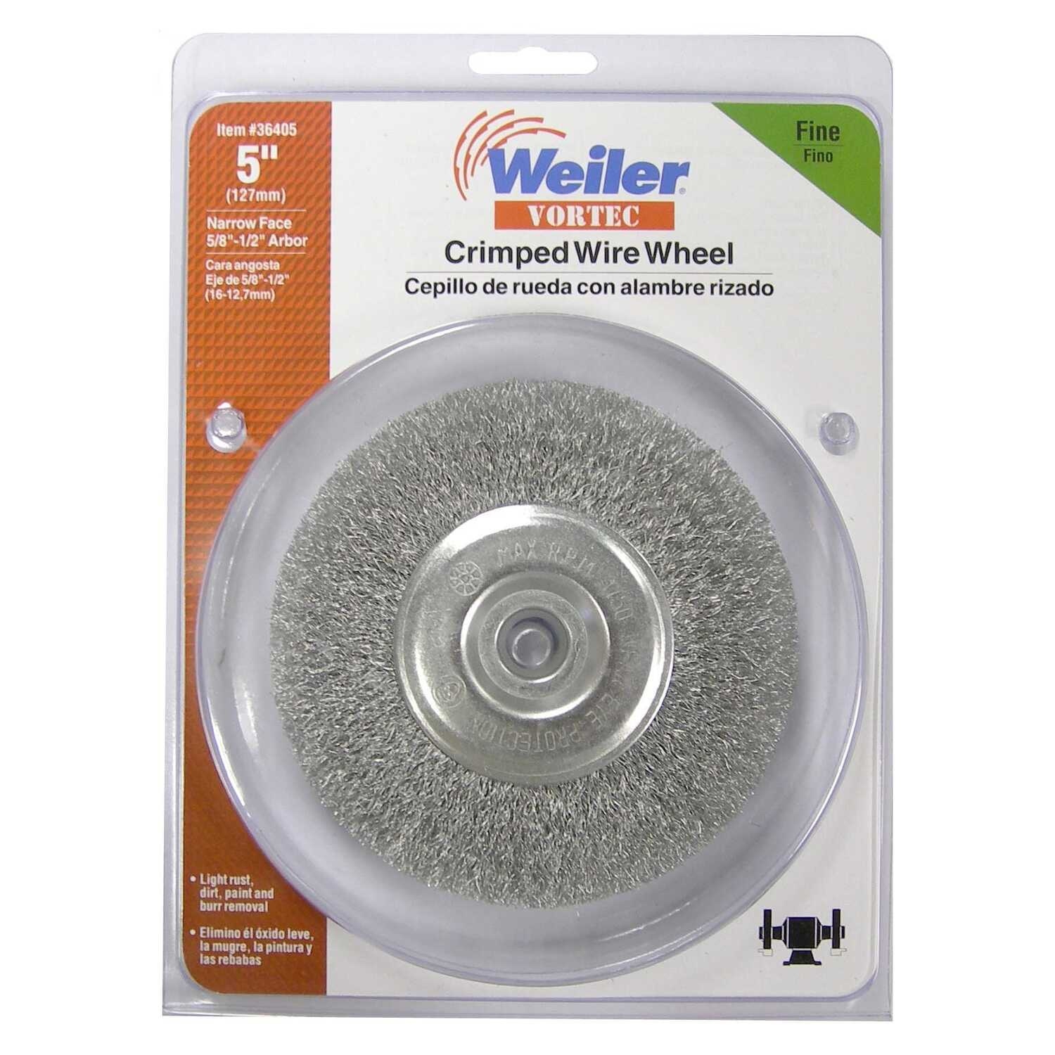 Weiler  Vortec  5 in. Fine  Crimped  Wire Wheel  Carbon Steel  3750 rpm 1 pc.