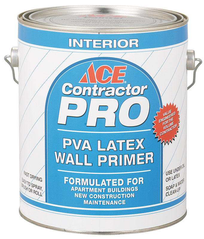 Ace  Contractor Pro  Flat  White  Latex  For Drywall 1 gal. PVA Primer
