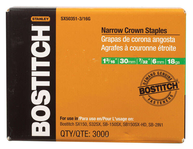 Bostitch  7/32 in. W x 1-3/16 in. L 18 Ga. Narrow Crown  Caps and Staples  3000 pk