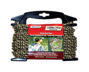 SecureLine  1/4 in. Dia. x 50 ft. L Diamond Braided  Rope  Camouflage  Polypropylene