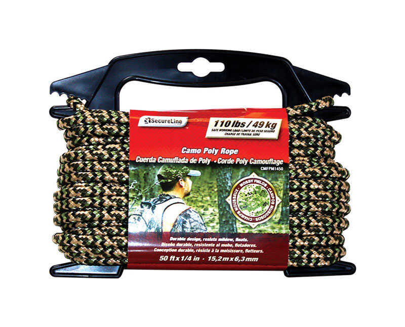 SecureLine  1/4 in. Dia. x 50 ft. L Camouflage  Diamond Braided  Polypropylene  Rope