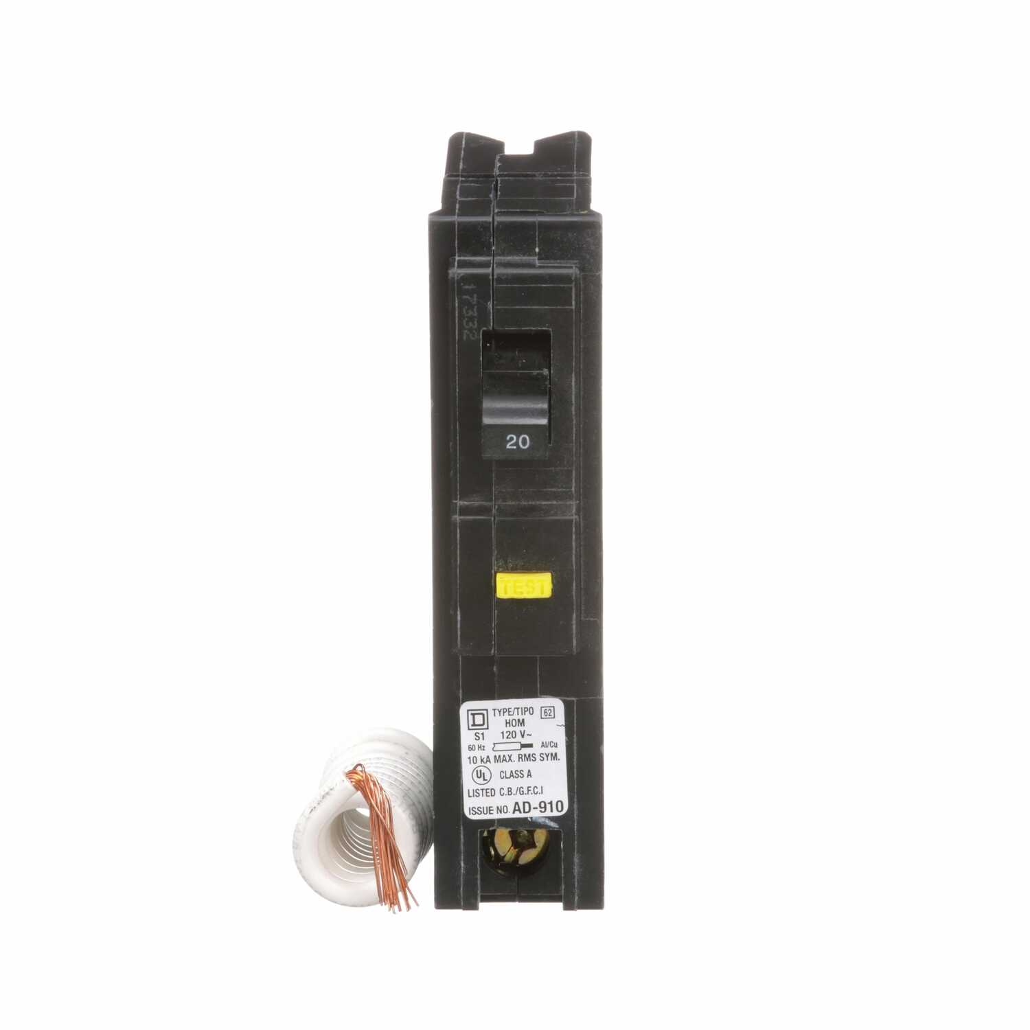 Square D  HomeLine  20 amps Surge  Single Pole  Circuit Breaker
