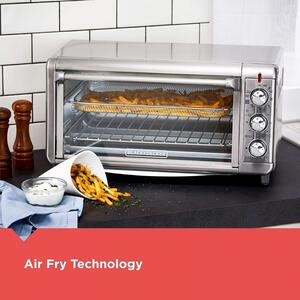 Black and Decker  Stainless Steel  Silver  8  Toaster Oven w/Air Fry Technology  11.2 in. H x 21.5 i