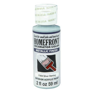 Homefront  Decorator Color  Metallic  Silver Sterling  Acrylic Latex  Hobby Paint  2 oz.