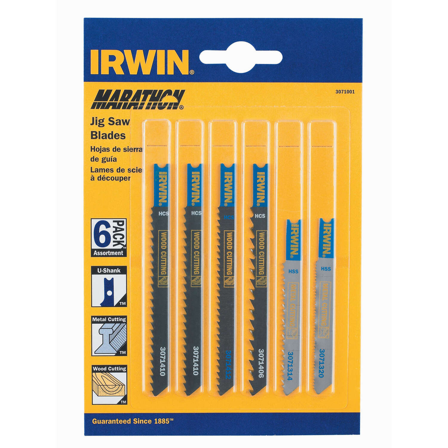 Irwin  Marathon  4 in. Carbon Steel  U-Shank  Jig Saw Blade Set  Assorted TPI 6 pk