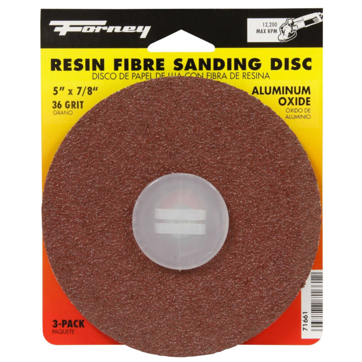 Forney  5 in. Aluminum Oxide  Adhesive  Sanding Disc  36 Grit Coarse  3 pk