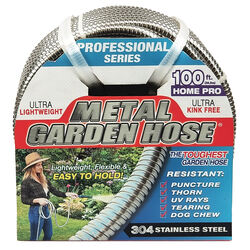 Swan Metal Garden Hose 1/2 in. Dia. x 100 ft. L Heavy-Duty Silver Stainless Steel Garden Hose