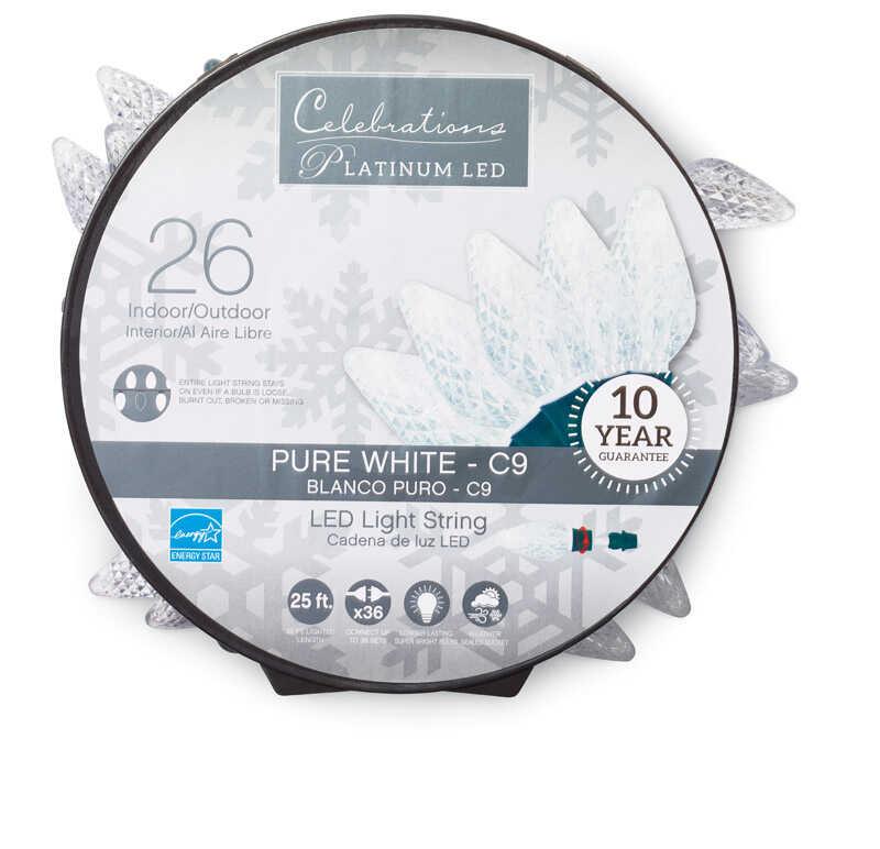 Celebrations Platinum C9 Led Light Set On A Reel White 24