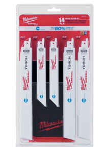 Milwaukee  SAWZALL  1 in. W x 6 and 9 in. L Bi-Metal  Metal cutting  Reciprocating Saw Blade Set  Mu