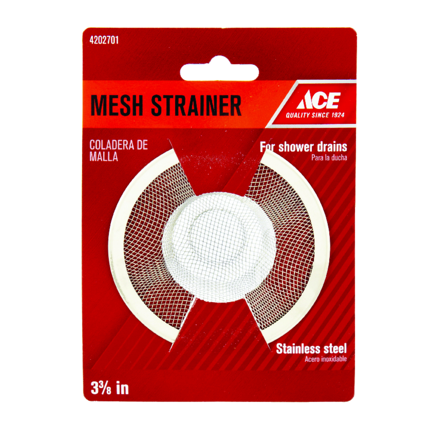 Ace  3-3/8 in. Dia. Mesh Strainer  Stainless Steel