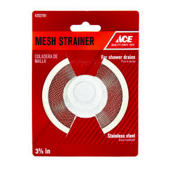 Ace  3-3/8 in. Dia. Chrome  Stainless Steel  Mesh Strainer