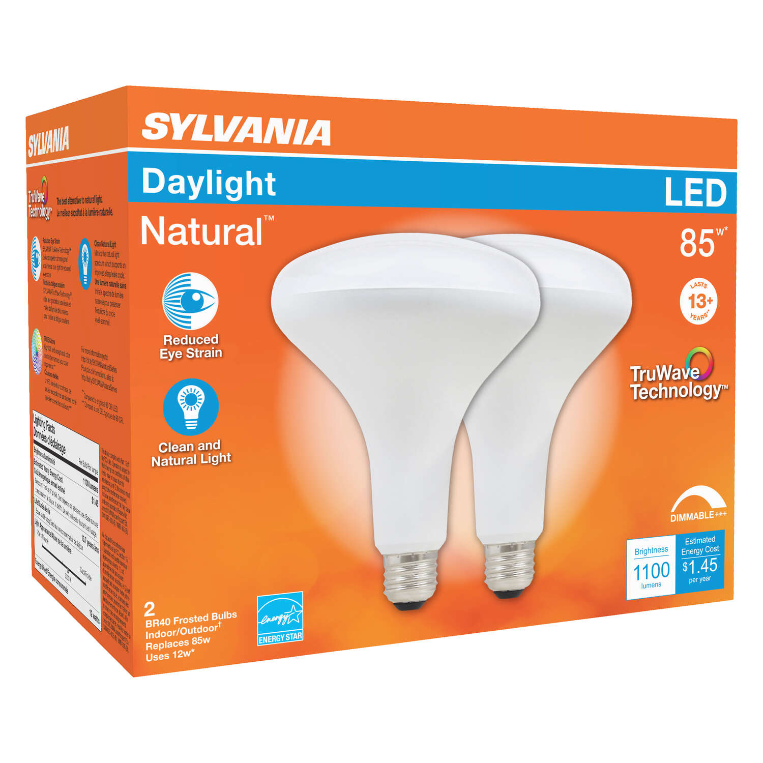 Sylvania  Natural  BR40  E26 (Medium)  LED Floodlight Bulb  Daylight  85 Watt Equivalence 2 pk