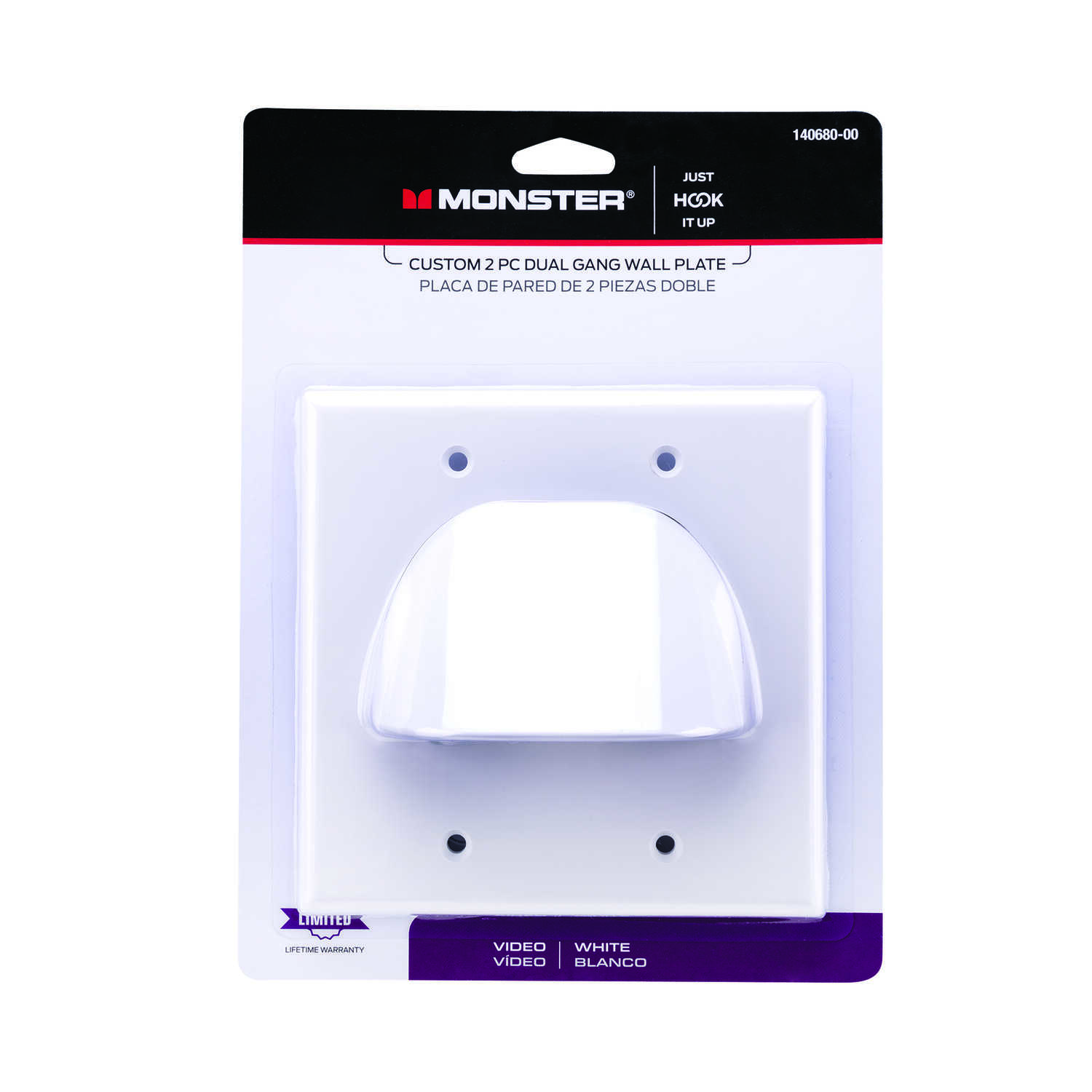 Monster Cable  Just Hook It Up  White  2 gang Plastic  Home Theater  Wall Plate  1 pk