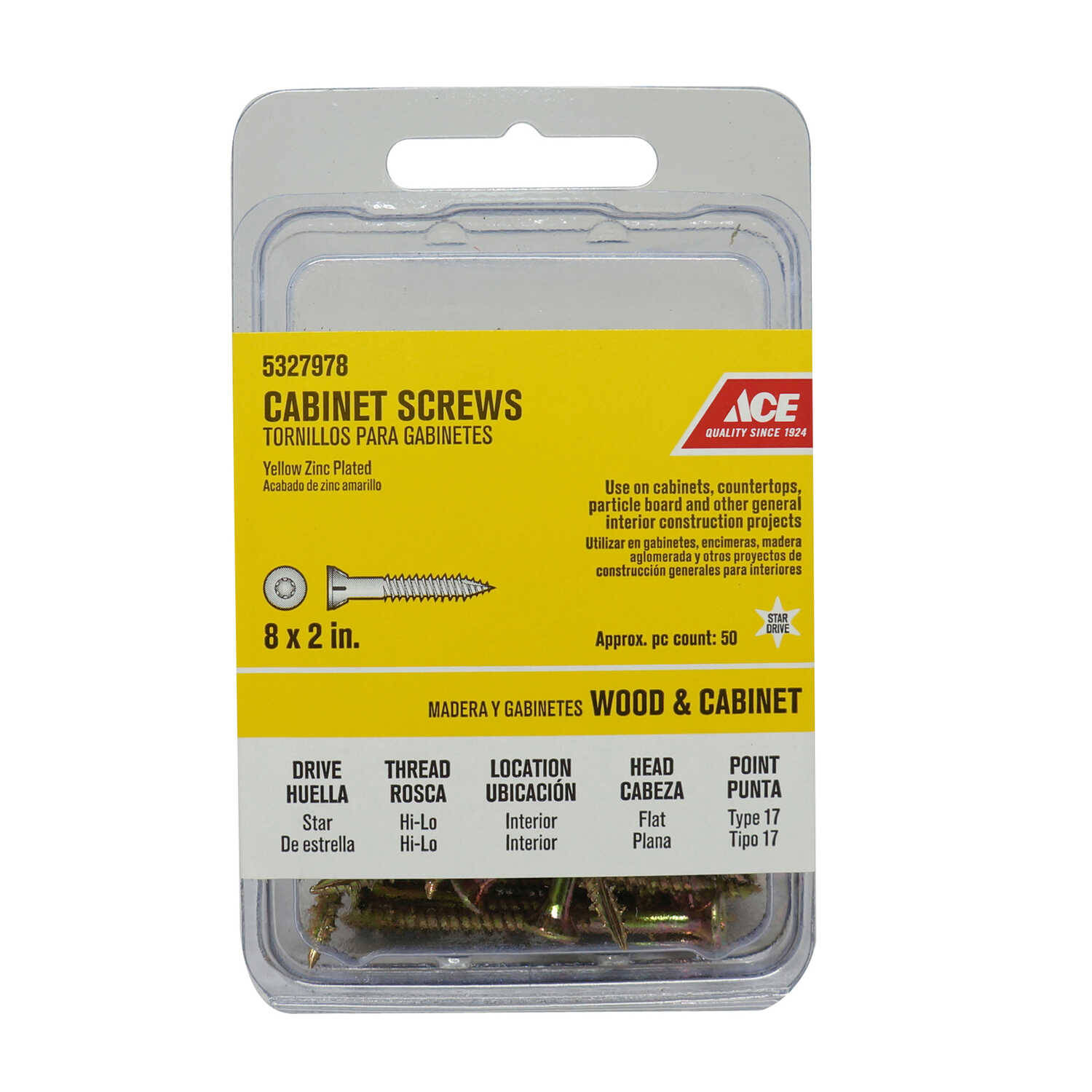 Ace  No. 8   x 2 in. L Star  Flat  Steel  Cabinet Screws  50 pk Yellow Zinc-Plated