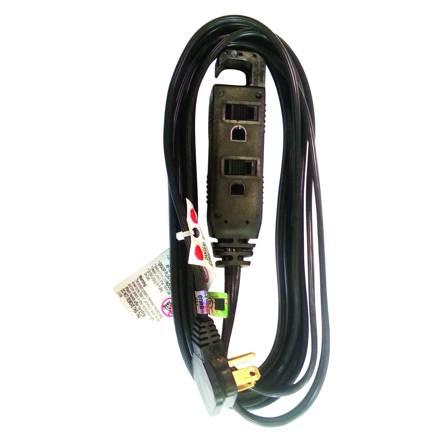 Ace  Indoor  12 ft. L Black  16/3 STP-3  Extension Cord