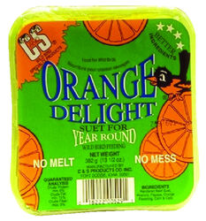 C&S Products  Orange Delight  Assorted Species  Wild Bird Food  Beef Suet  11.75 oz.