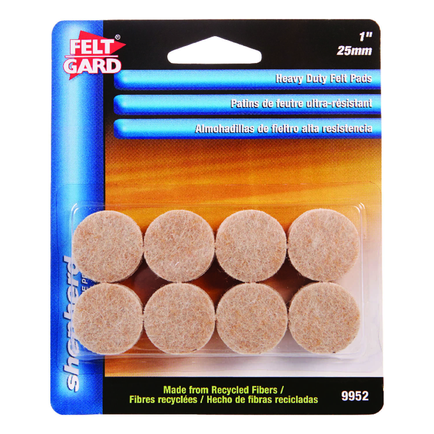 Felt Gard  Recycled Fiber  Protective Pads  Tan  1 in. W Round  Self Adhesive 16 pk
