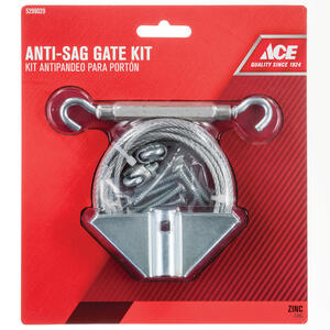 Ace  7.5 in. L Silver  Steel  Anti-Sag Gate Kit  1 pk