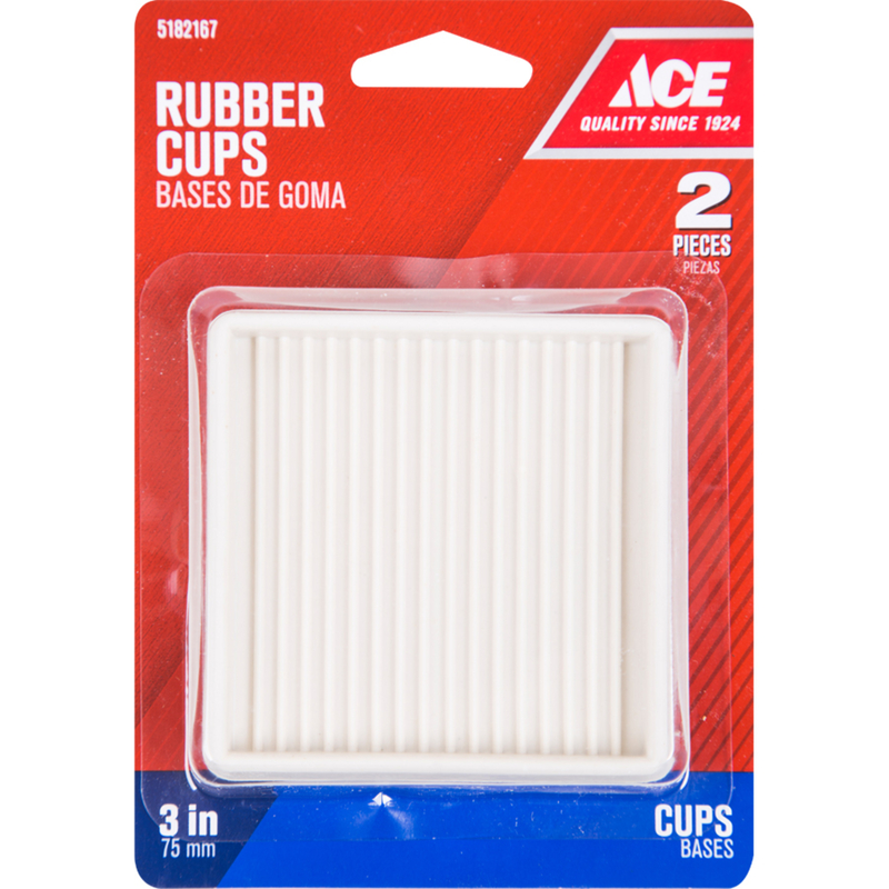 Ace  Rubber  Caster Cup  White  Square  3 in. W x 3 in. L 2 pk