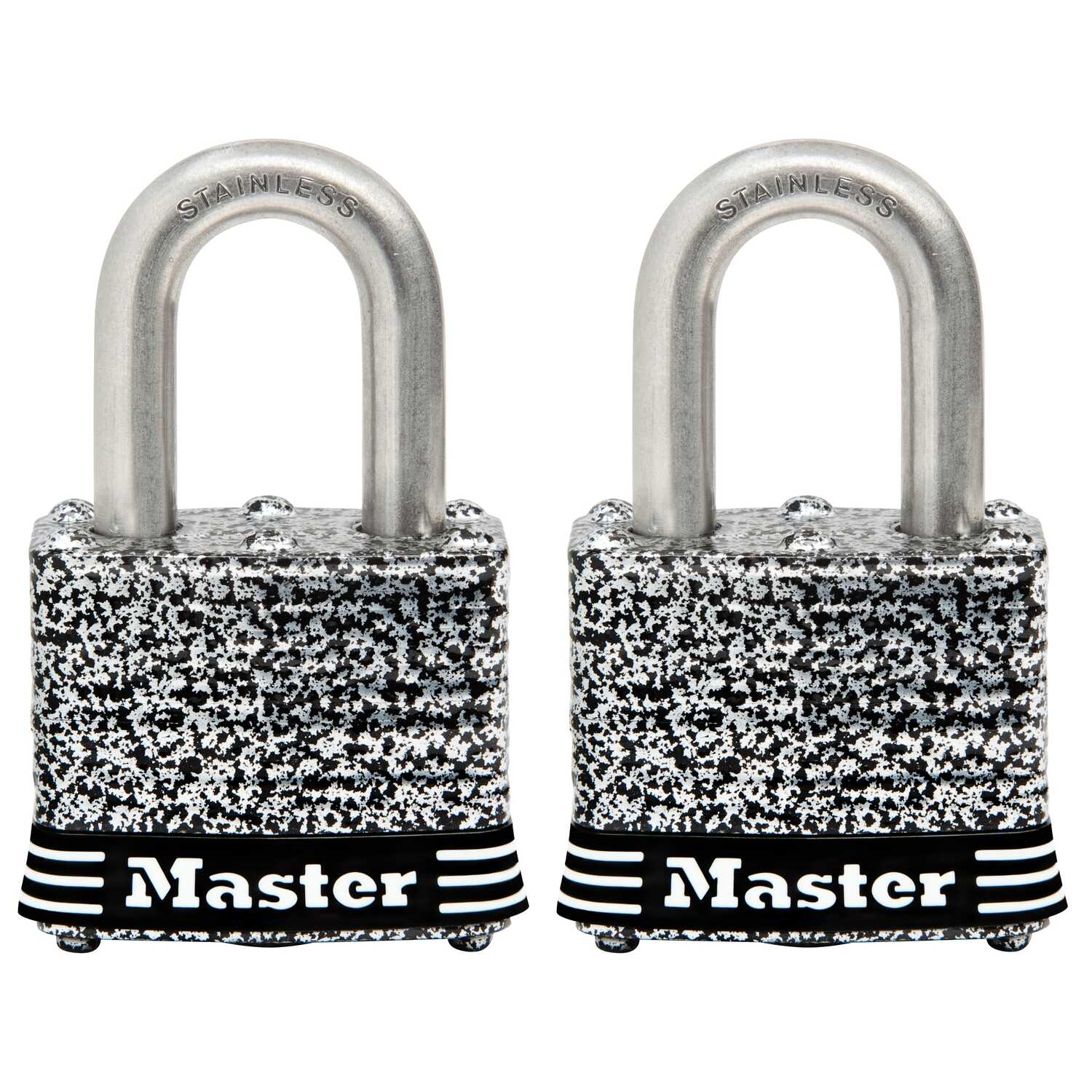 Master Lock  1.5 in. W Steel  4-Pin Tumbler  Laminated Padlock  2 pk Keyed Alike