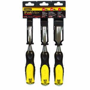 Stanley  FaxMax Thru-Tang  1/2 in. W x 9 in. L Steel  Wood Chisel Set  Yellow  3 pk