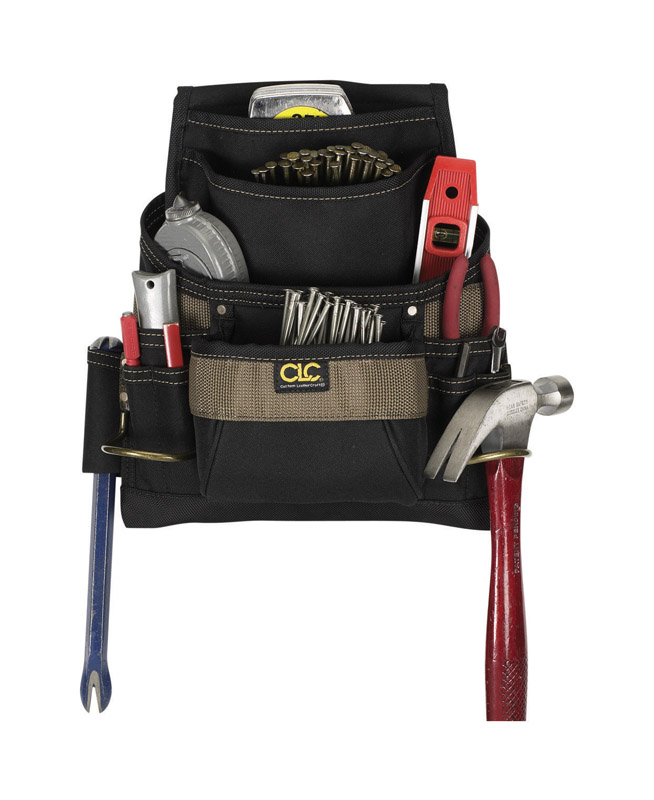 CLC Work Gear  3.75 in. W x 14.25 in. H Polyester  Tool Bag  11 pocket Black/Tan  1 pc.