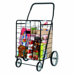 Apex  40-9/16 in. H x 24-7/16 in. W x 21-11/16 in. L Black  Collapsible Shopping Cart