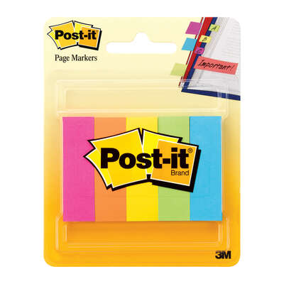 Post-it  0.5 in. W x 2 in. L Assorted  Page Markers  5 pad