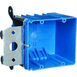 Carlon 3-5/8 in. Rectangle PVC 2 gang Outlet Box Blue