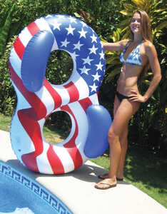 Swimline  Red, White, Blue  Blue/Red/White  Inflatable Floating Tube  Vinyl