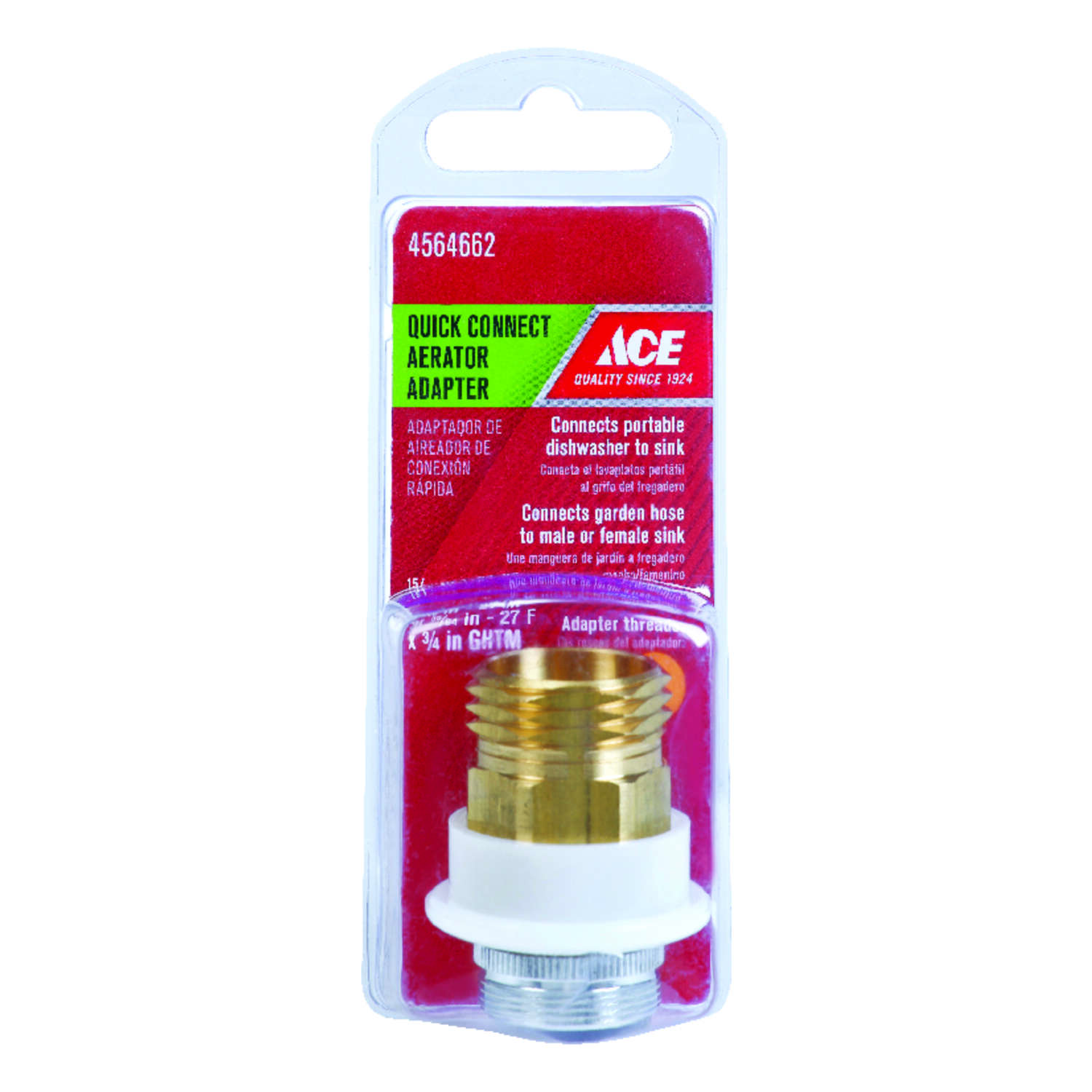 ACE  Chrome  55/64 in.  x 15/16 in.  Quick Connect Adapter  1 pack