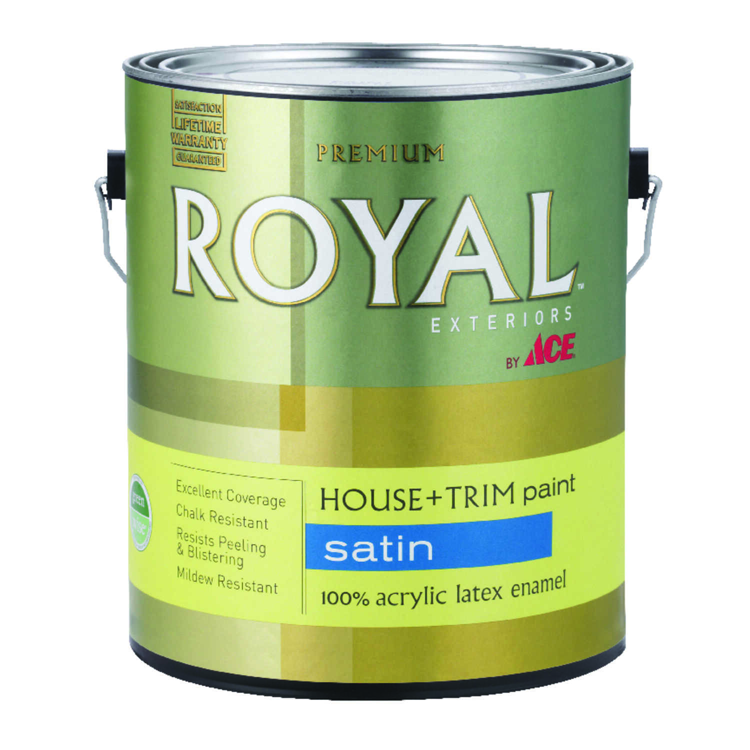 Ace  Royal  Satin  White  Acrylic Latex  House & Trim Paint & Primer  1 gal.