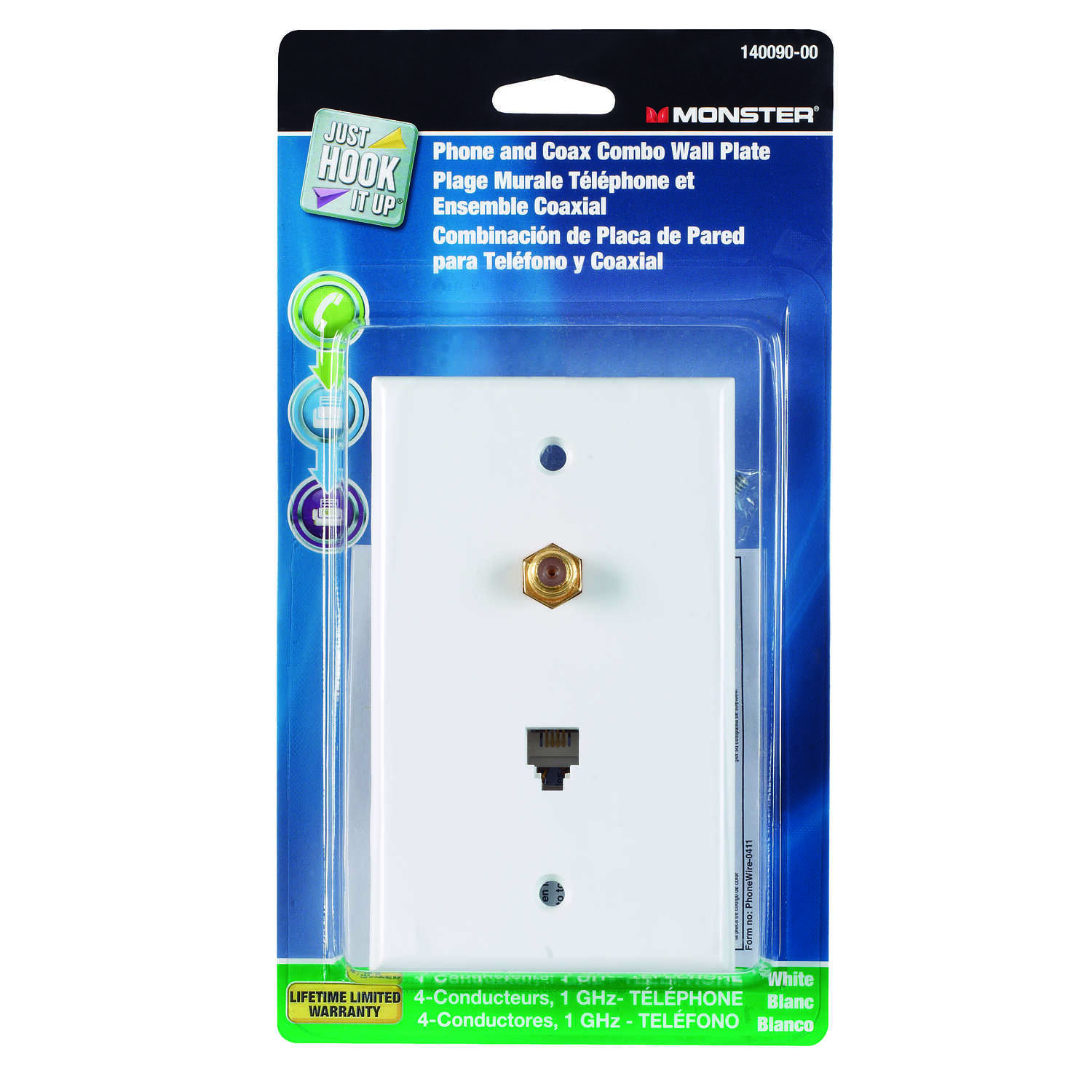 Monster Cable  Just Hook It Up  White  1 gang Cable/Telco  Wall Plate