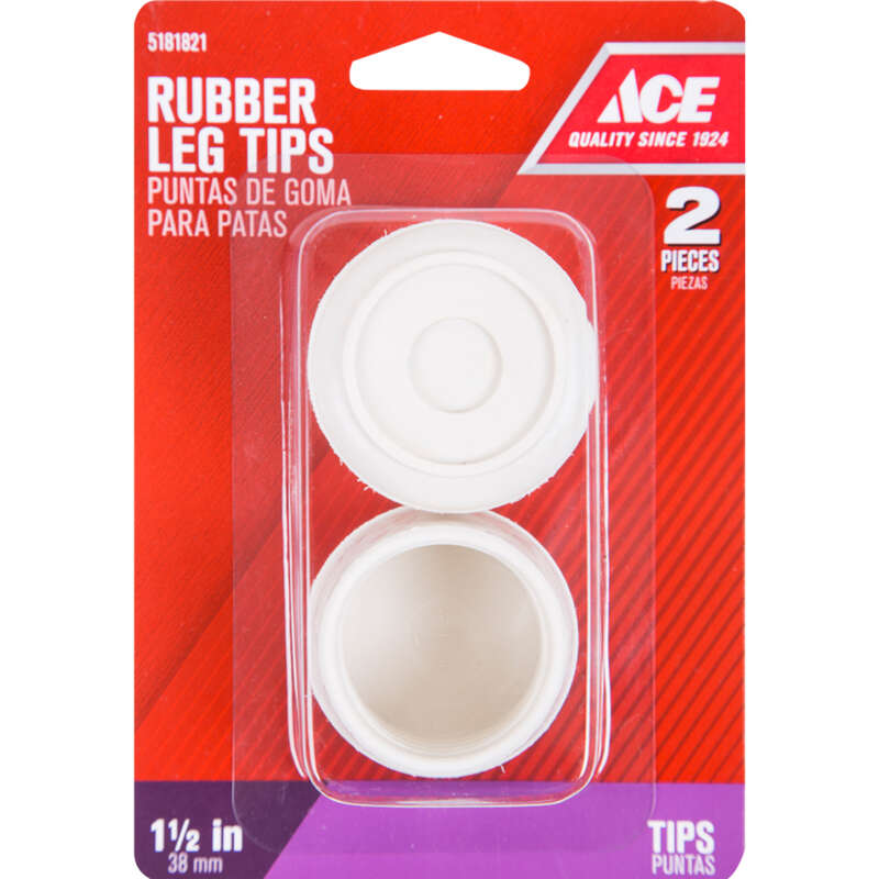 Ace  Rubber  Leg Tip  Off-White  Round  1-1/2 in. W 2 pk